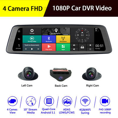 1080P Touch Screen Car DVR Video MP5 Player GPS 4 Camera RAM 2G Android 5.1