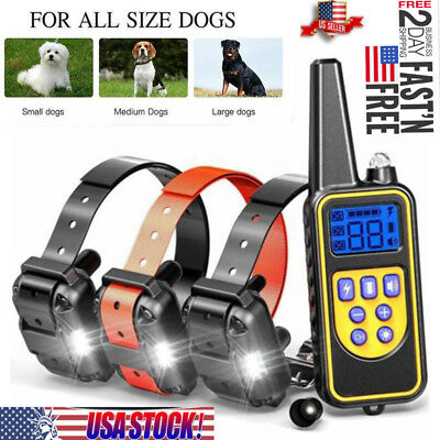 Waterproof LCD Dog Rechargeable Remote Shock Training Collar NO Bark For 3 dogs