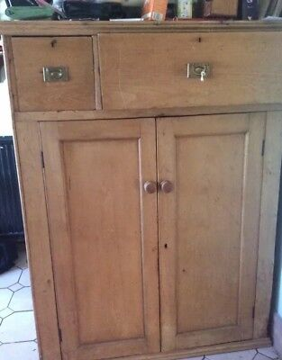 Antique Early Victorian Solid Pine 2 Door Kitchen Cupboard or Linen Press