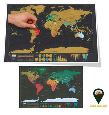 Deluxe Erase Black World Map Scratch off World Map Personalized Travel Scratch
