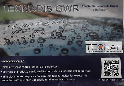 Pack 25 - Rain repellent One-Use wipe for vehicle windscreens (TECNADIS GWR)