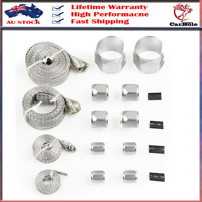 Silver Stainless Steel Braided Hose Engine Dress Up Kit Radiator/vacuum/fuel/oil