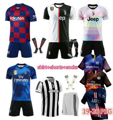 7d890c068 19 20 Kids Adult Football Full Kit Youth Jersey Strips Boys Soccer Sports  Outfit