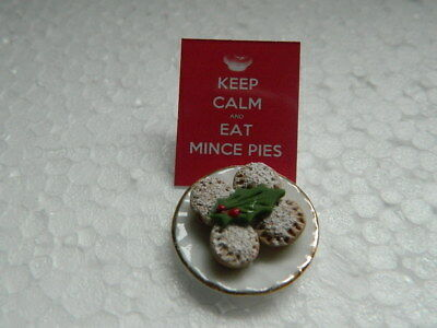 (Cf.16) Dolls House Handmade Christmas Mince Pies On A China Plate
