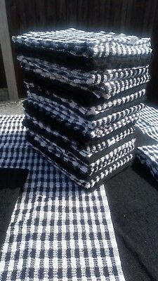 3 Large Terry Tea towels thick professional 100% cotton restaurant bar BLACK