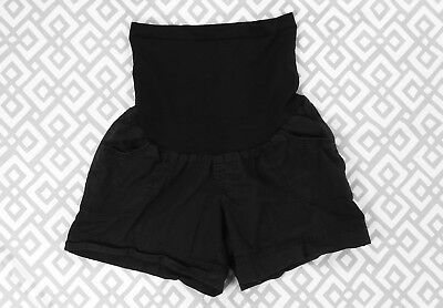 Womens Motherhood Maternity Black Secret Fit Belly Panel Stretch Shorts Sz Small