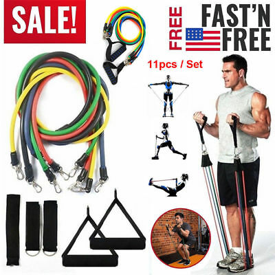 Resistance Exercise Band Set Yoga Pilates Abs Fitness Tube Workout Bands 11-PCS
