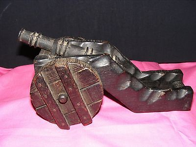 Vintage Decorative Wood and Cast Iron Cannon, Great Retro Decor