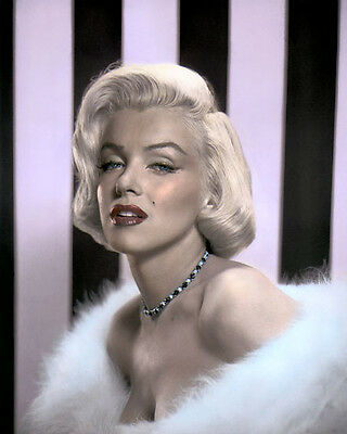 """MARILYN MONROE HOLLYWOOD ACTRESS & MOVIE STAR 8x10"""" HAND COLOR TINTED PHOTOGRAPH"""