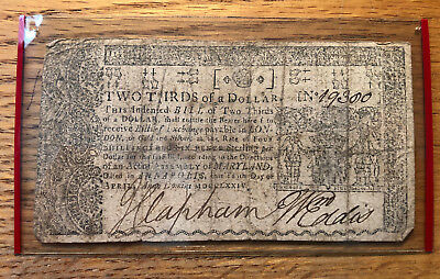 Two Thirds of a Dollar Maryland Colonial Note April 1774 #19300