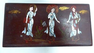 Antique Japanese Lacquer Box Inlaid Pearl Shell Hand Painted Geisha Girls