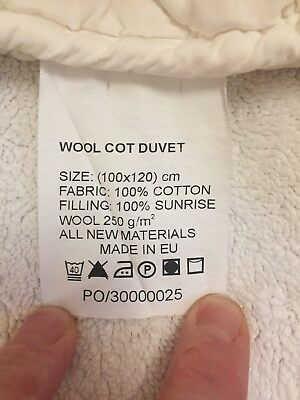 The Woolroom Wool Cot bed Duvet. Pure Wool Filling with Cotton Cover.