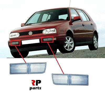 Vw Golf Mk3 91-99, Jetta/vento 92-98 Front Bumper Long Reflector White Pair Set