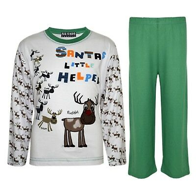 "Kids Boys Girls Green ""SANTAS LITTLE HELPER"" Christmas Pyjamas Reindeer Rudolph"