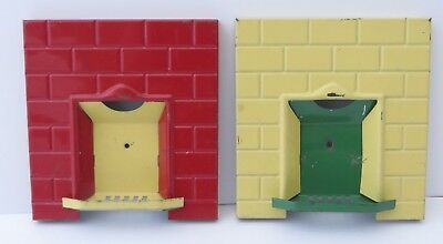 2 x Vintage Romside Triang Tin Red Yellow Green Dolls House Fireplace