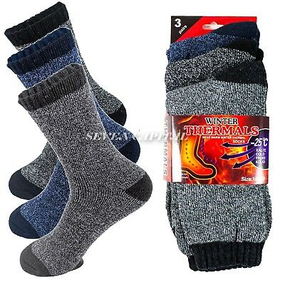 Lot 1-12 Mens Winter Thermal Heated Super Warm Socks Heavy Duty Boots Sox 10-13