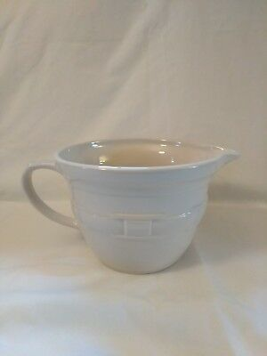 Longaberger Pottery WOVEN TRADITIONS Ivory Mixing Bowl Made is USA Green Label