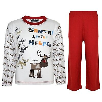 "Kids Boys Girls Red ""SANTAS LITTLE HELPER"" Christmas Pyjamas Reindeer Rudolph"