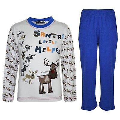 "Kids Boys Girls Royal ""SANTAS LITTLE HELPER"" Christmas Pyjamas Reindeer Rudolph"