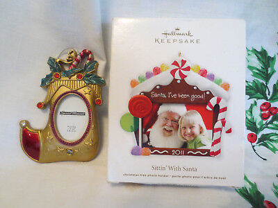 NIB Hallmark Christmas Holiday Santa 2011 Photo Ornament + free Stocking Frame