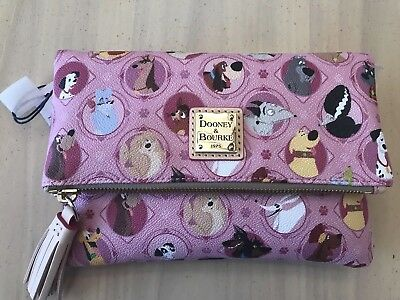 Disney Parks Dooney And  & Bourke Dogs Pink Foldover Crossbody Bag Purse NWT new
