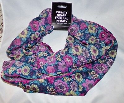 Woman's Ladies Infinity Eternity Circle Scarf Floral Print Multi Color