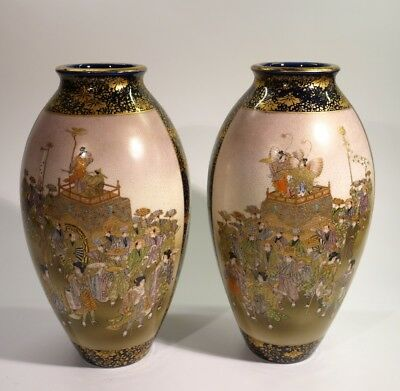 Stunning Pair of Antique Japanese kinkozan Meiji Satsuma Vases.