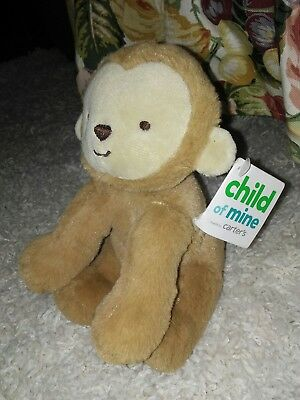 NWT Carters Child of Mine Brown Monkey Plush Baby Rattle Toy 63221 Immed.Ship