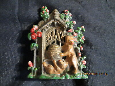 Vintage Cast Iron Bank Bears Stealing Honey from Beehive