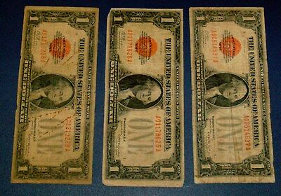 THREE 1928 FUNNYBACK One Dollar $1 RED SEAL United States Note Funny Back