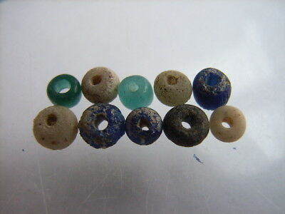 10 Ancient Roman Glass, Quartz Beads Romans VERY RARE!  TOP !!