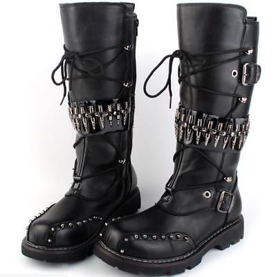 Chunky Heels Mens Combat Military Punk Style Boots Cool Fashion Buckle Shoes NEW