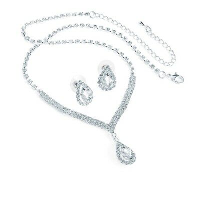 Silver colour crystal tear drop necklace and stud earring set  Gift For Women