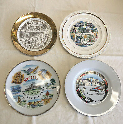 Vtg State Collectible Souvenir State Plates - Lot of 4