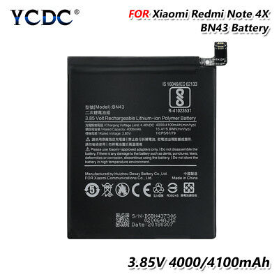 High Performance 3.85V 4100mAh Phone Battery BN43 For Xiaomi Mi Redmi Note 4X 3