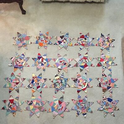 """20 PC LOT Vintage Feed Flour Sack 8 POINTED STAR Quilt Pieces 19"""" Paper Pieced"""
