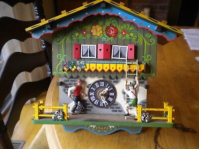 ANTIQUE BLACK FOREST CUCKOO CLOCK W. farmer busty daughter and caller musical