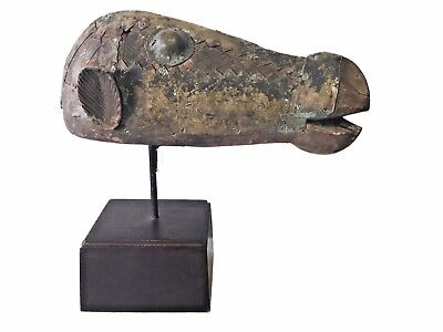 """Superb  Old African Bamana Antelope Head Puppet Mali On Stand 13"""" H"""