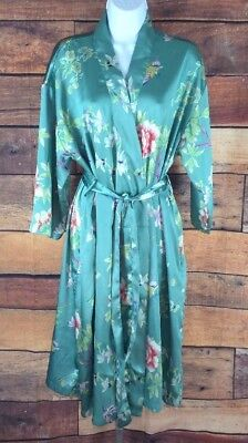 CABERNET~M~FLORAL SILKY SATIN Robe Wrap Cover Up Green 3 4 Sleeve Knee  Length 0aa2847b7
