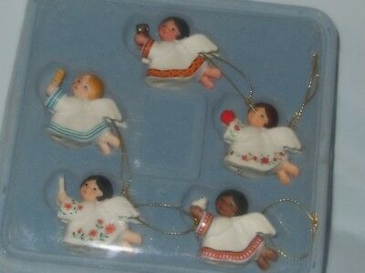 Avon 1983 Christmas Ornaments- 5 Angels In The Set-Porcelain-All Nib