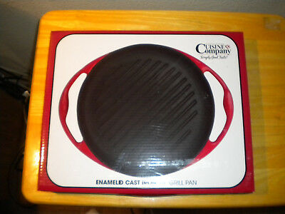 """*NEW IN BOX* Cuisine Company Red Enameled Cast Iron 10"""" Grill Pan"""