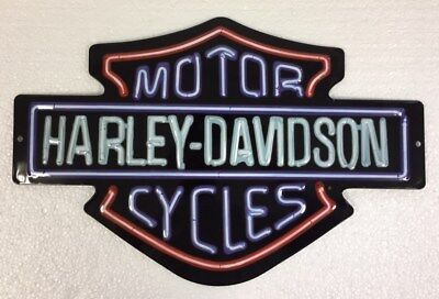 "Ande Rooney HARLEY DAVIDSON ""NEON LIGHTS"" Tin HD Motorcycle Garage Man Cave Sign"