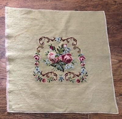 Vintage French Embroidered Floral Seat Cover Panel or Cushion