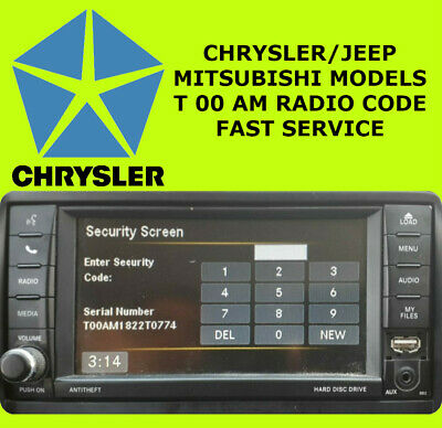 Chrysler Jeep Mitsubishi Radio Code Supply T00 Am Unlock Code Pin Service