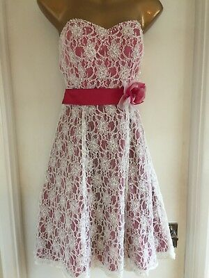 BNWT Pink White Lace Prom Party Cocktail Bridesmaid Dress - Size 12 True Bride