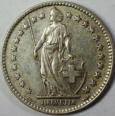 1955 B Switzerland 2 Francs Average Circulated Helvetia Silver Coin