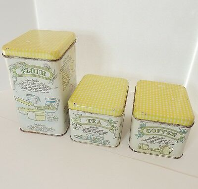 Vtg RETRO Yellow & White 3 Pc. Canister Set Recipes Mid Century Shabby Chic