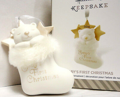 HALLMARK 2014 Baby's First Christmas Ornament White Stocking with BEAR NIB