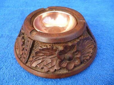Vintage Carved Wood Ashtray , Copper Insert , Black Forest Style  Decoration.