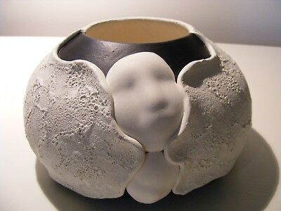 Vintage Clay Pottery Vessel Vase bowl Matte Textured signed Novak